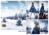 Wholesale 200 cm ft photography background snow vinyl studio backdrops pine stands snow blue sky snowflake for baby