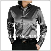 Cheap Wholesale-21 colors mens casual business shirt famous brand shirt men long sleeved silk shirt top quality shirt men T001