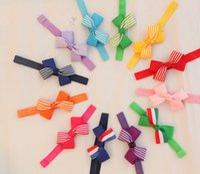 stretch band - 100pcs color Baby Girl Soft Stretch Hair Band Handmade Dot inch Grosgrain Ribbon Bows Headbands Kids Striped Bowknot Headwear Headdress