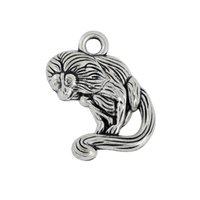 antique monkeys - New Fashion Easy to diy antique silver plated single side tamarin monkey animal mm charms jewelry making fit for n