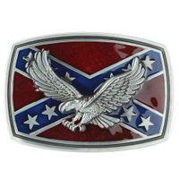 Wholesale 3D Rebel Eagle South Southern Confederate Flag Metal Belt Buckle