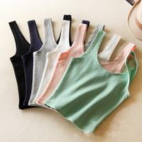Wholesale Simple New Colorful Crop Top Cheap Cotton Camisole Tops Short Designed Tank Tops Bohemian Women s Bustier Crop top