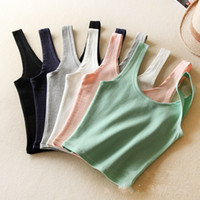 Wholesale Simple NewColorful Crop Top Cheap Cotton Camisole Tops Short Designed Tank Tops Bohemian Women s Bustier Crop top t