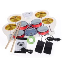 Wholesale USB MIDI Drum Kit PC Desktop Roll up Electronic Drum Pad Portable with Drumsticks MD1008