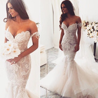 Wholesale 2016 Sexy Lace Mermaid Wedding Dresses Removeable Off Shoulder Straps Embroidery Lace Organza Ruffles Puffy Mermaid Sweetheart Wedding Gowns