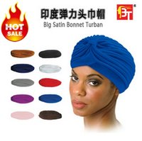 big hat factory - Fashion Turban Factory Hat Elastic Skullies Beanies Hat Bandanas Big Satin Bonnet Turban Color