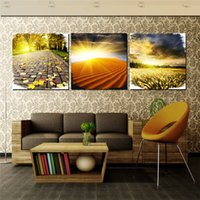 beautiful desert pictures - Large Oil Painting On Canvas Beautiful Country Landscape Desert Sunrise Wall Pictures for Living Room Decorative New