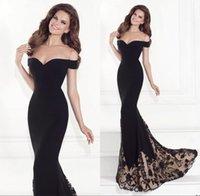 Cheap 2015 Tarik Ediz Mermaid Evening Gowns Bateau Off Shoulder Court Train Black Jersey Backless Sleeveless Party Prom Dresses