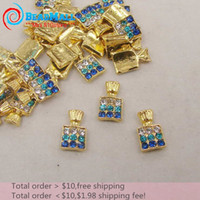 alloy nail supply - Min Order Nail Supplies mm D Nail Art Decorations Alloy Crystal Blue Rhinestone Perfume Bottle Gold Metal