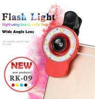 Wholesale universal RK Flash Linght lens with clip in fish eye wide micro lens colorful for iphone samsung htc smart phone to take pictures