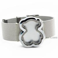 Wholesale 2015 New mm Silver Bear magnetic glass floating locket bracelet stainless steel wristband without CharmsLSLB11