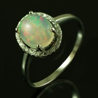 australian fire opal - Fashion Jewelry Rings top grade Gem Natural Mined Multi Color Flash White Australian Genuine Fire Opal Oval X6mm Solid
