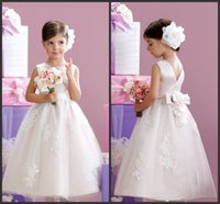 beautiful hands photos - Ivory Satin Appliques Girls Dresses Jewel Neck Bow Back Cheap Price Custom Beautiful Ankle Length A Line Style Simple Conmmunion Gown