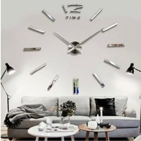 Cheap Acrylic mirror clock The wall sticking wall clock 3D wall colocks creative household decorates sitting room mirror 5 colors