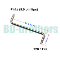 Wholesale T20 T25 mm Phillips PH1 Screwdriver With Hole Z Screwdrivers Tool for Auto Fender of Car