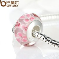 Wholesale High Quality Sterling Silver DIY Pink Flower Murano Glass Beads Fit Original Pandora Bracelet Charms For Women Jewelry