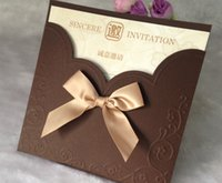 invitation letter - Chocolate Wedding Invitations Sets With Bow Printable Inner Sheets Envelope Wedding Invitations Card Rsvp Cards Custom Made Available