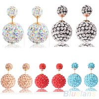 Wholesale Women s Rhinestone Two Sided Double Beads Ear Studs Pin Bubble Earrings D23