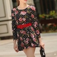 beautiful funding - Long sleeve of new fund of autumn fashion printing cultivate one s morality round collar broken beautiful dress