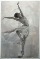 Cheap Black and White Ballet Dancer Ballerine Picture 100% Handmade Oil Painting on Canvas Home Goods Room Wall Art Decoration