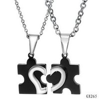 Wholesale Fashion Jewelry stainless Steel two half heart match jigsaw pendant Necklace New Design Low Price for couple