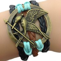 Wholesale Mockingjay charm Bracelet For Hunger Games Inspired Knit Weave Bronze Medallion Infinity Karma infini Bracelets