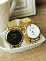 best name brand dress - Gold watch Full stainless steel woman fashion dress watches men brand name Geneva quartz watch best quality DHL