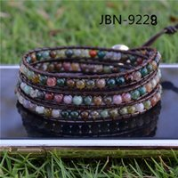 amber semi precious stone - Infinity products Leather weaving mm mix agate beaded bracelet bangle Multi Wrap Bracelet semi precious stone fashion jewelry JBN