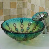 Wholesale Bathroom tempered glass sink handcraft counter top round basin wash basins cloakroom shampoo vessel bowl HX010
