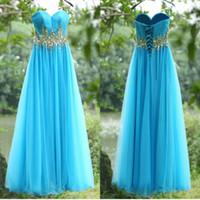 su12 - 2016 New ssj Light Blue Chiffon A Line Prom Dresses Spaghetti Sweetheart Ruffles Crystal Beads Floor Length Cheap Evening Gowns SU12