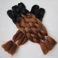 auburn colored hair - 24 quot G Ombre Two Tone Colored Black Auburn Brown Kanekalon Jumbo Braiding Synthetic Hair For Dreadlocks Crochet braids