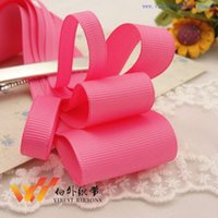 Wholesale yards solid grosgrain ribbons accessories hairbows Geranium hot pink plain ribbon