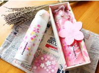 Wholesale New Japan Style Starbucks Cherry blossom coffee cup stainless steel Vacuum Mug Pink White ml Girl accompanying Cup with gift box
