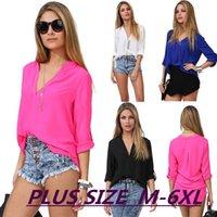 Cheap Hot Sale Summer Blusa Feminina 2015 Casual Plus Size V-Neck Full Sleeve Chiffon Blouse Women Blouse Blusas Women Tops Clothing