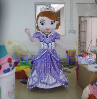 Cheap Best Quality Sofia the First Mascot Costume Sofia Costume with helmet and mini fan Carnival Costumes Fancy Dress Free Ship SW344