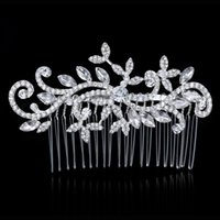 austrian crystal cross - Royal Floral Wedding Tiara Sparkling Silver Plated Austrian Crystal Pearl Bridal Hair Combs Hairpin Jewelry Hair Accessories In Stock