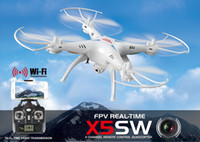 Wholesale 2016 Camera Drones SYMA X5SW WIFI RC Drone FPV Helicopter Quadcopter with HD Camera G Axis Real Time RC Helicopter Toy