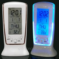 Wholesale Digital LED Backlight LCD Display Desk Alarm Clock Thermometer Calendar NEW despertador FYDA0937
