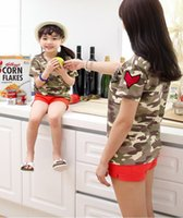 Cheap gir sets girl Camouflage short sleeved T-shirts +shorts suits girl Summer clothes 2 pic sets children sets
