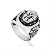 african statues - Vintage Ethnic Buddhist Statue Portrait Men Ring Stainless Steel Biker Jewelry Silver Tone Size R321