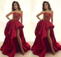 backless strapless body - High Split Side Red Prom Dresses Strapless A Line Backless With Beads Body Sweep Train Draped Skirt Taffeta Evening Celebrity Gown zahy735