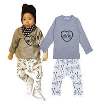 arrow bikes - 5sets Cartoon Children Clothing Sets Bike Heart Pattern Long Sleeve T shirts Arrow Harem Pants Boys Girls Set Kids Clothing Set
