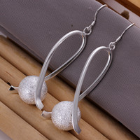 Wholesale 2015 New Women beautiful Earring Jewelry fashion sterling silver earrings jewelry high quality Scrub Ball Earrings