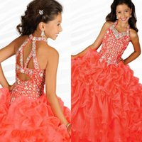 Wholesale Girls Pageant Dresses Gorgeous Halter Neck with Rhinestones Watermelon Ruffles Organza Ritzee Girls Party Ball Gowns