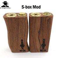 18650 b mod - S box Mod Wood S Box Mechanical Mod Dual Battery Copper Contact Pin Kamagong Wood Straight line Curved Style VS B Box Mod