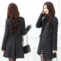 Wholesale 4049 New Fashiona Women s Woolen Double breasted Coat jacket Winter Coats jackets outerwear plus size Gray black S XL