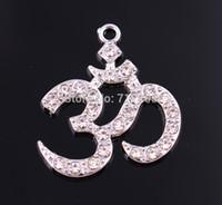 asana yoga - New Arrival a zinc studded with sparkling crystals Yoga Meditation Yogi OHM Asana Large Om AUM Pendant