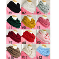 Wholesale Popular Women top selling Warm Knit Neck Circle Wool Cowl Snood Long Scarf Shawl Wrap Via DHL