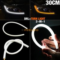Wholesale 30pcs cm Yellow White Dual Color Switchback Flexible Strip Daytime Running Light With Turn Signal Light
