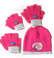Wholesale Frozen Gilrs Hat Gloves Set Colorful Children Girls Winter Warm Knitting Hat Gloves Sets For Kids